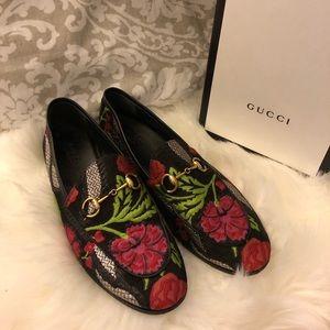 Gucci Jordan Floral Leather Trim Metallic Loafers